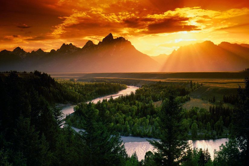 Landscape Sunset Mountain Background Wallpaper