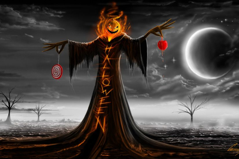 Halloween Specter Scarecrow Pumpkin Fire Flames Tunic Lollipops Moon Stars  Clouds Night Trees Desert Scare Fear Painting hd wallpaper by LadyGaga