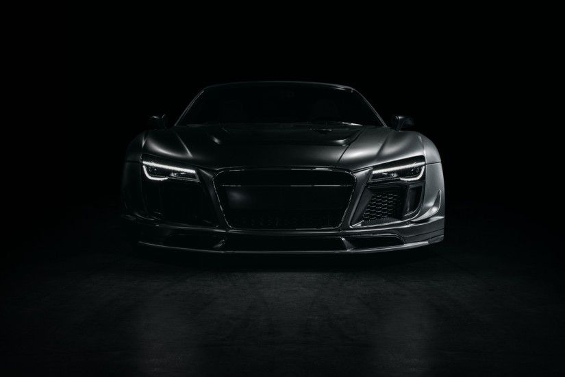 2560x1440 Wallpaper audi, r8, sports car, tuning, front view, black