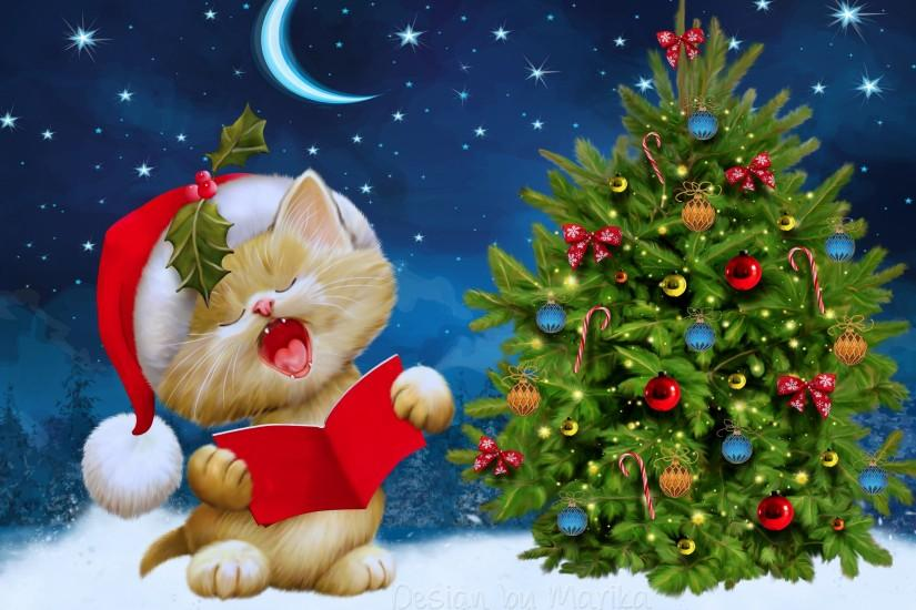 Preview wallpaper new year, christmas, cat, card 3840x2160