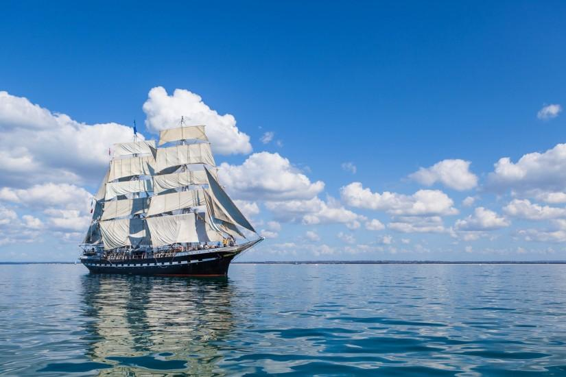 Preview wallpaper sea, sail, ship, clouds 3840x2160