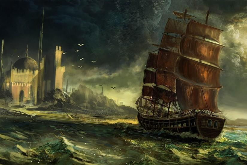 Pirate ship in the strom Wallpaper HD