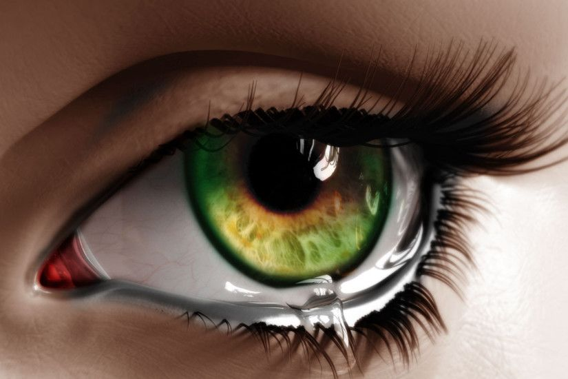 Artistic - Eye Abstract Tears Green Eyes Wallpaper