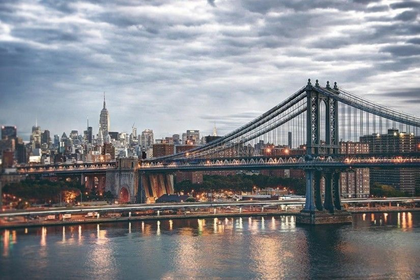 Manhattan Bridge Into The City HD Desktop Background wallpaper