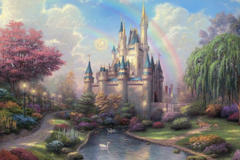 Thomas Kinkade Disneyland 50th Anniversary Wallpaper Art Painings