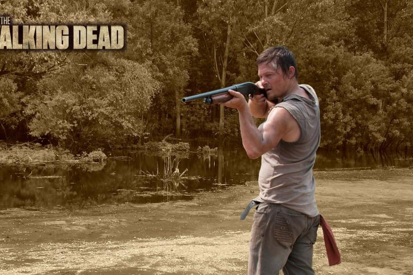 Daryl with shotgun in forest
