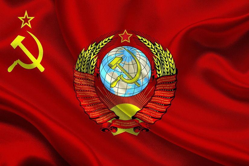 Picture USSR Coat of arms Hammer and sickle Flag 1920x1080