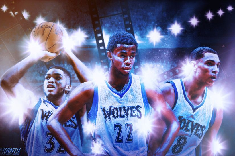 "Minnesota Timberwolves ""Flash Bros"" Wallpaper with Andrew Wiggins. Zach  Lavine, and Karl Anthony Towns"