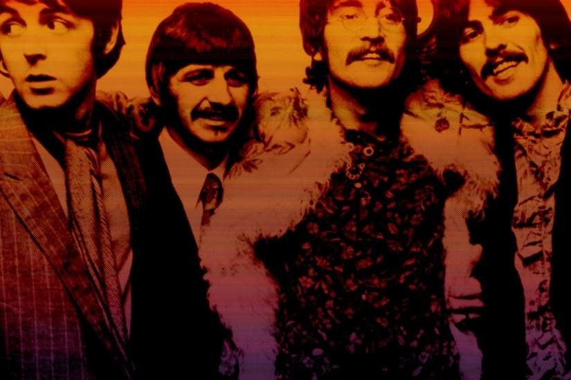 Preview wallpaper the beatles, band, members, smile, look 2048x1152