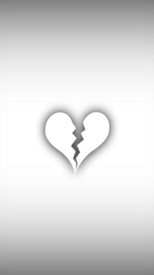 Minimalist White Broken Heart Android Wallpaper ...