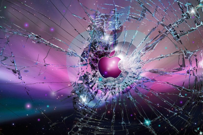... Broken Glass pink Apple Logo wallpaper 1920x1200 ...