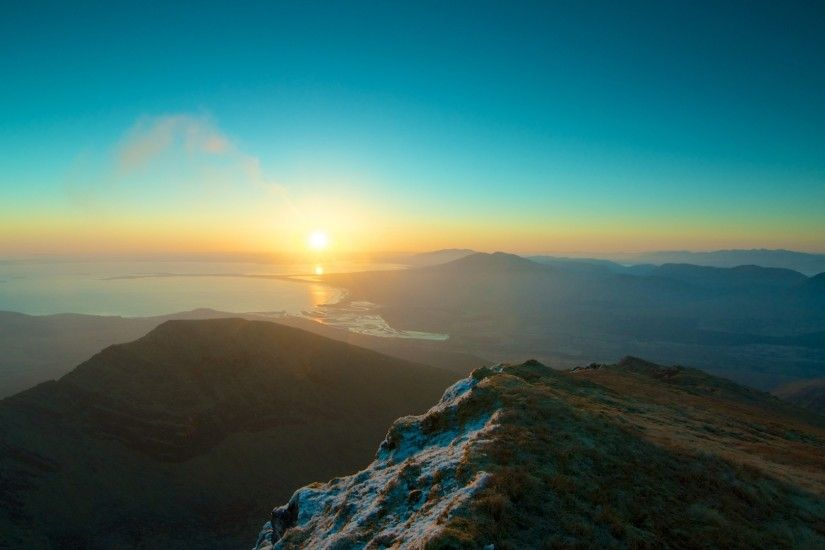 Preview wallpaper mountains, sky, sunset, peaks 1920x1080