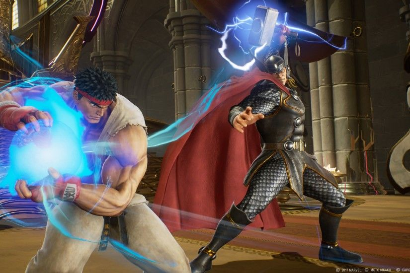 Awesome Ryu vs. Thor 4K Marvel vs. Capcom: Infinite wallpaper