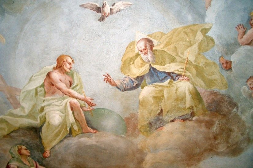 """The Holy Trinity' by Luca Rossetti da Orta, fresco, 1738-1739. """