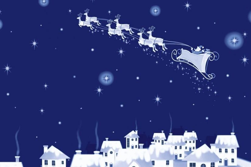 Santa flying above the city wallpaper
