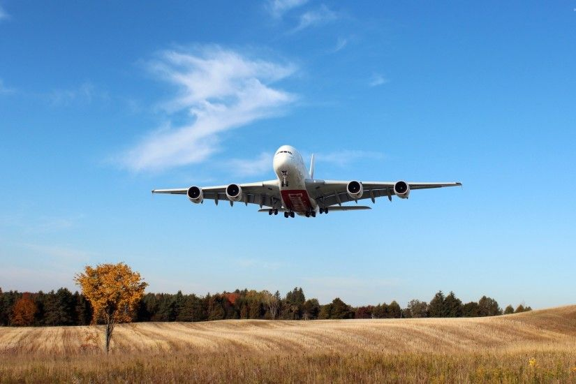 Airbus A380 flying over the field wallpaper