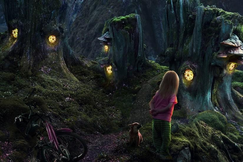 Fantasy - Child Little Girl Dog Girl Fantasy Puppy Forest Dark Stump Tree  Mushroom Light Wallpaper