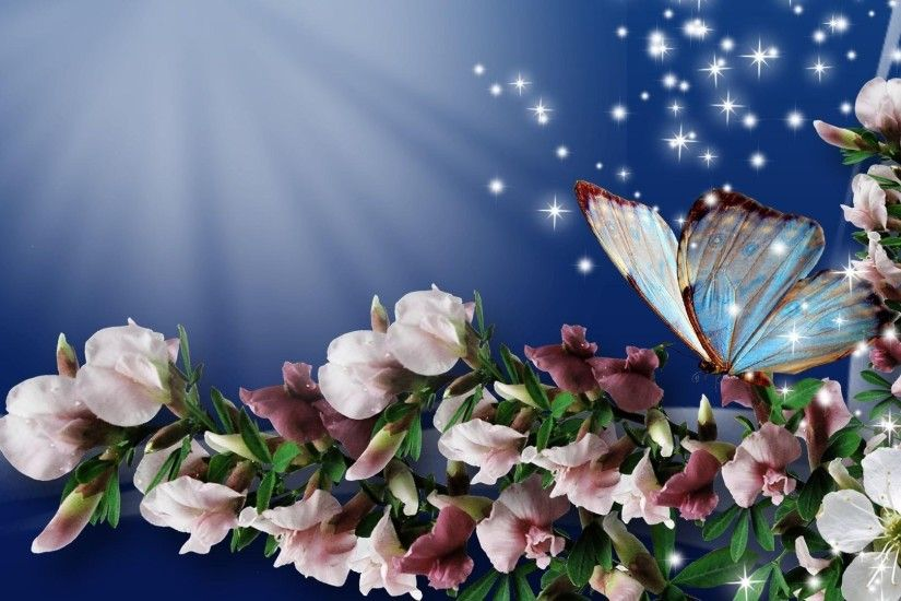 Spring Flowers And Butterflies wallpaper wide