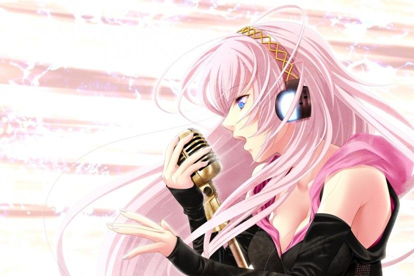 Preview wallpaper megurine luka, girl, blue eyes, pink hair, headphones,  microphone