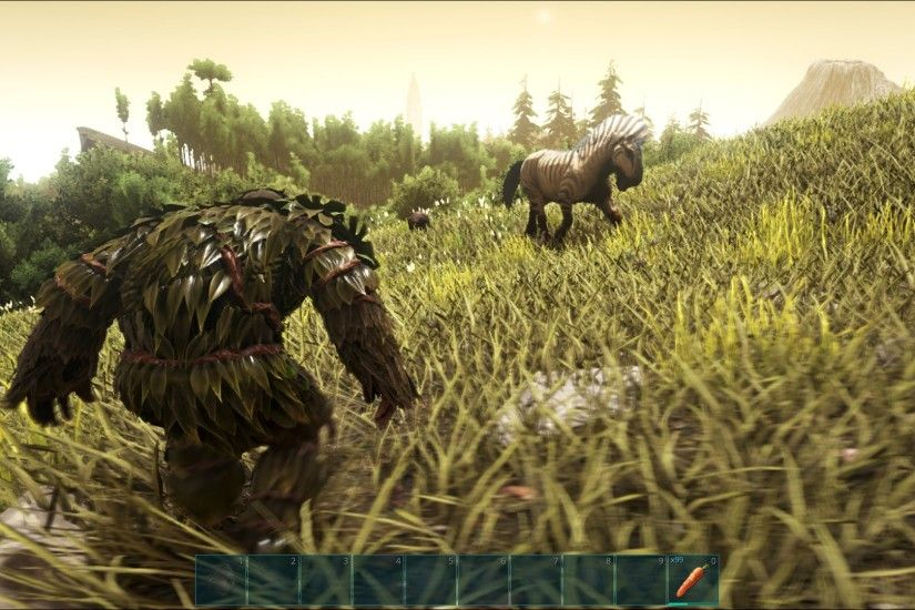 And here's me primed and ready for some hardcore horse taming in Ark. I'm  in my stealth-enhancing Ghillie Suit, which gives me awe-inspiring sneaking  ...