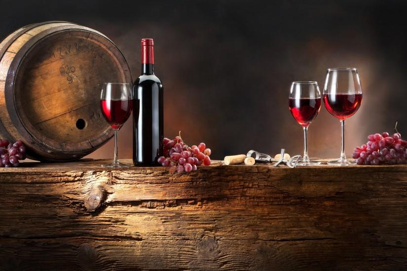 3840x2160 Wallpaper wine, grapes, drink, cask, wine glasses, bottle