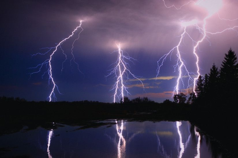Lightning Storm Over A Lake Photograph - Lightning Storm Over A Lake Fine  Art Print