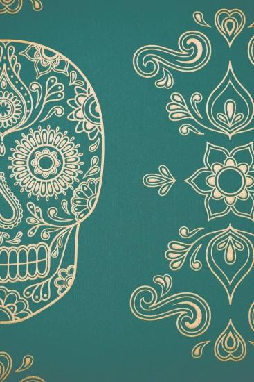 Image of Day of the Dead Sugar Skull Wallpaper - Emerald ...