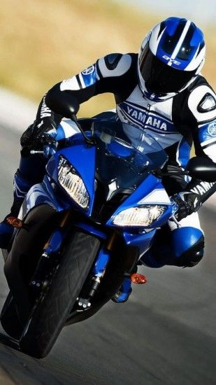 Download blue yamaha r6 motorcycle on circuit