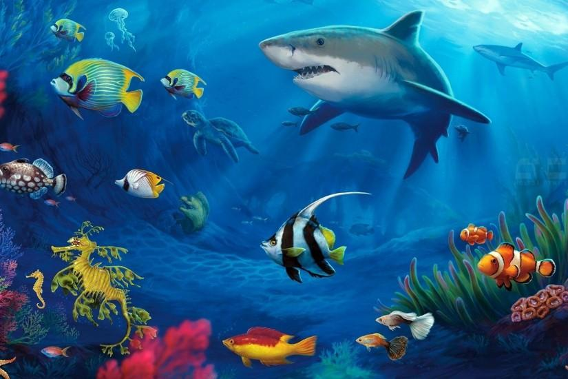 Life Underwater Aquarium Moving Fish Background Detail