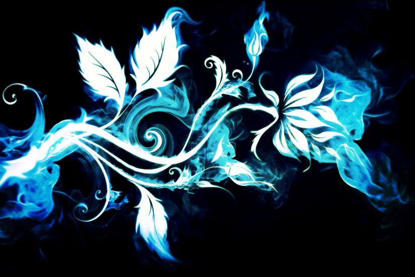 Artistic - Flower Abstract Blue Smoke Wallpaper