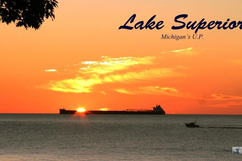 1920×1080 Lake Superior Sunrise – Freighter With Boat