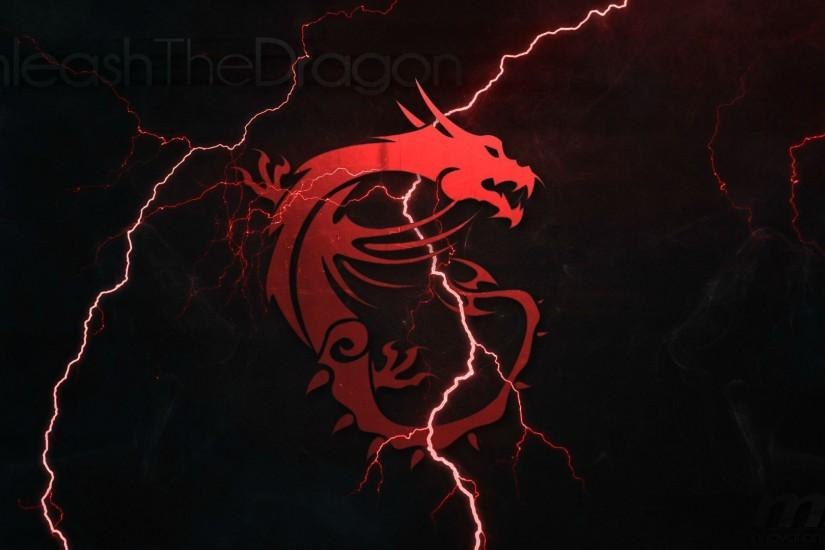 msi logo red dragon hd 1920x1080 1080p wallpaper. compatible for .