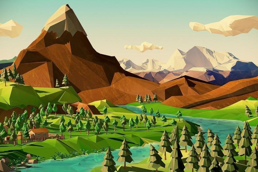 Polygon Mountain Scenery Wallpaper ...