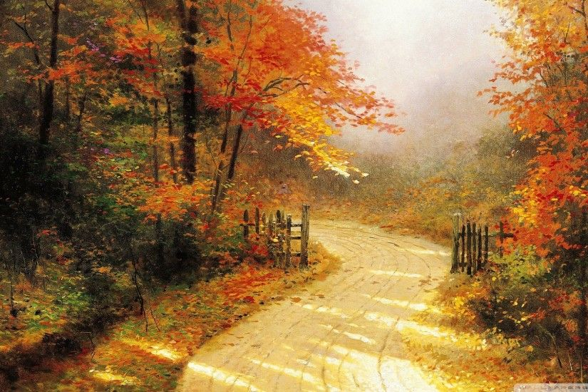 Autumn Lane By Thomas Kinkade HD desktop wallpaper .