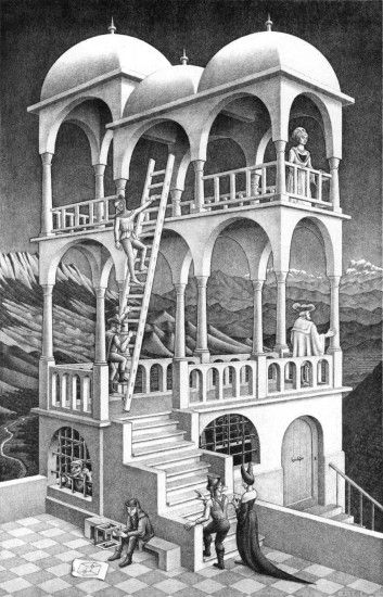 M.C. Escher. Mastery of manipulating perspective and space. One of my  favorite artists.