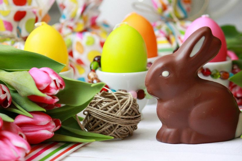 1920x1080 Wallpaper easter bunny, chocolate, tulips, eggs, table
