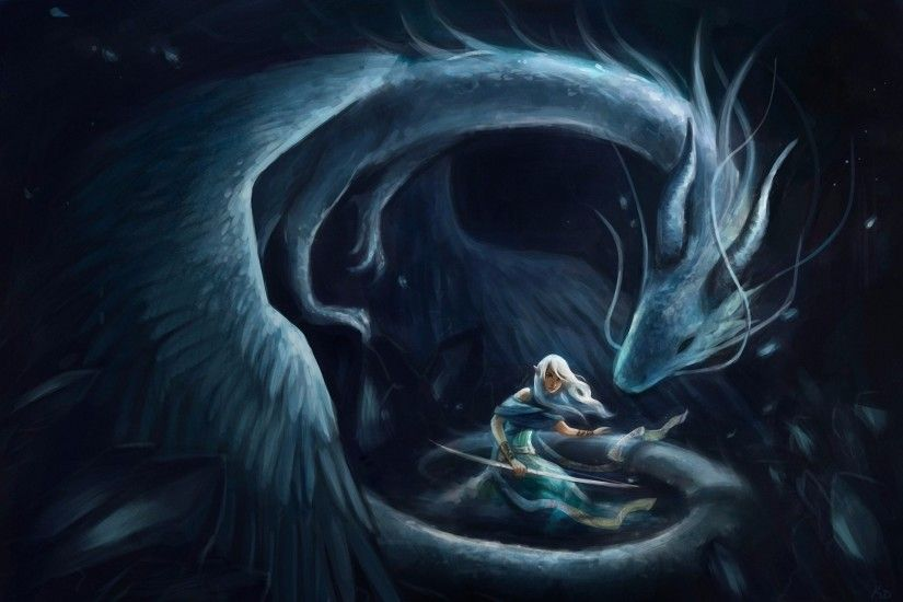 Fantasy Women White Hair Bow Dragon Girl Woman Fantasy Wallpaper
