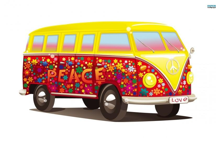 Vw Combi Van Hd Desktop Wallpapers Volkswagen Hippie Bus