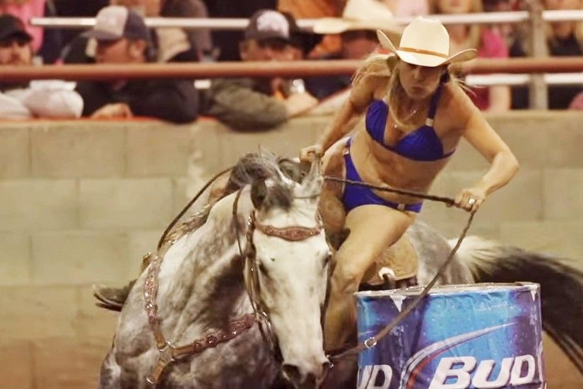Rodeo girls compete in the bikini barrel race girls speed