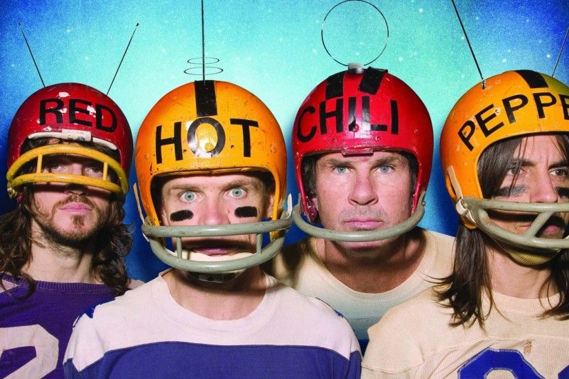 Preview wallpaper red hot chili peppers, band, members, helmets, words  1920x1080