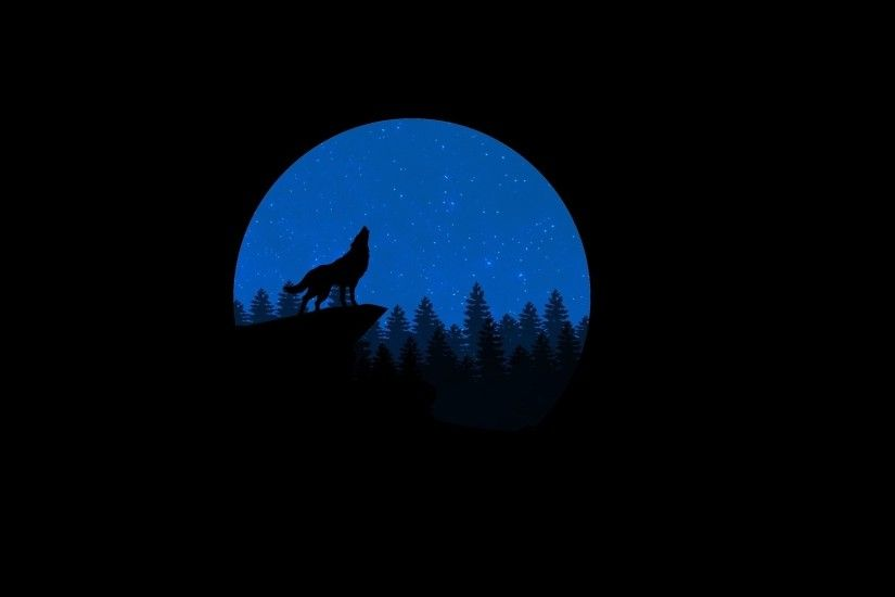 Animal - Artistic Wolf Moon Minimalist Wallpaper