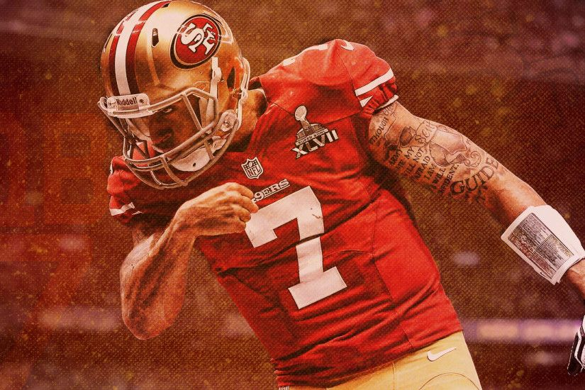 Hey /r/49ers! I made you guys a Colin Kaepernick wallpaper. I hope you guys  enjoy! Best of luck this season from a Pats fan!