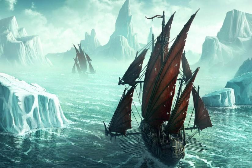 Pirate Ships In Icy Waters Wallpaper ...