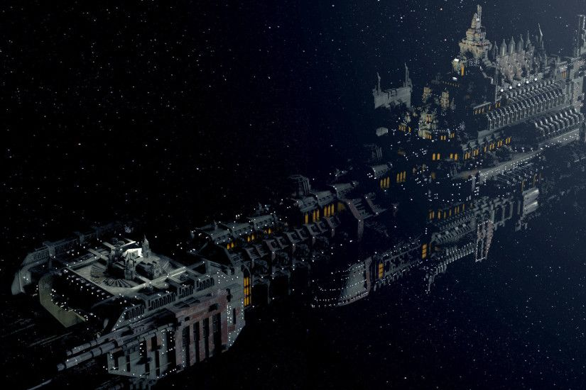 wallpaper warhammer 40k spaceship deep space gothic.