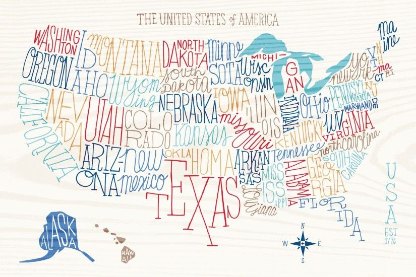 Hand Lettered US Map Wall Mural Photo Wallpaper