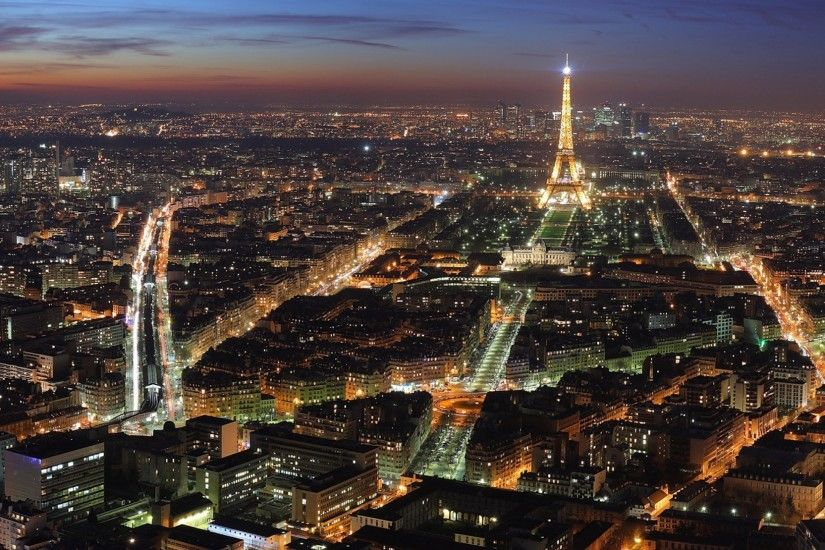 Preview wallpaper paris, france, eiffel tower, city lights, night, top view