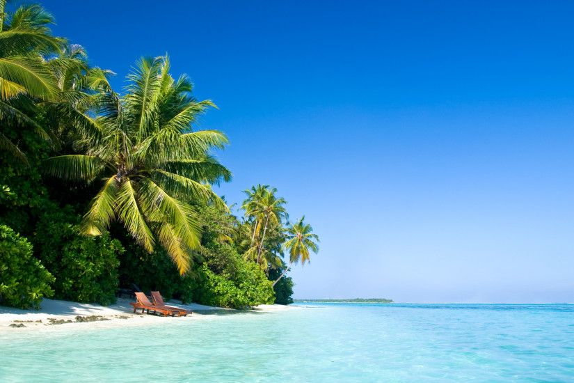 Preview wallpaper maldives, tropical, beach, palm trees, summer, heat  1920x1080