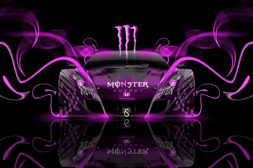 ... Monster-Energy-Honda-HSV-Pink-Neon-Plastic-Car-