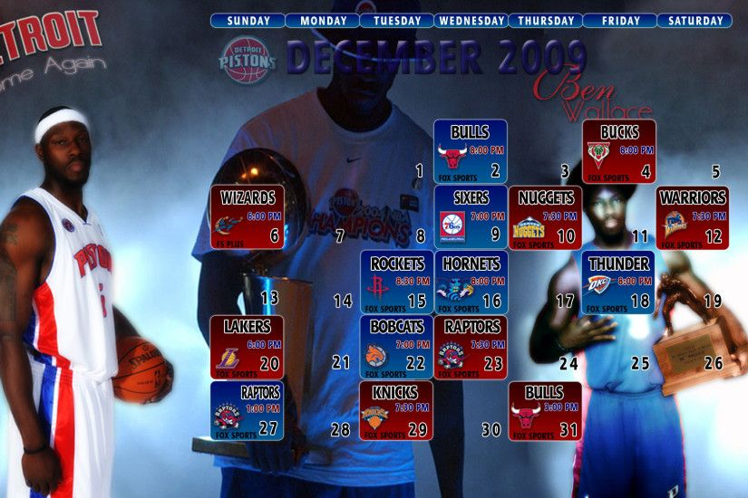 Need4Sheed.com Detroit Pistons Wallpapers December 2009 Schedule Wallpaper  1920x1080