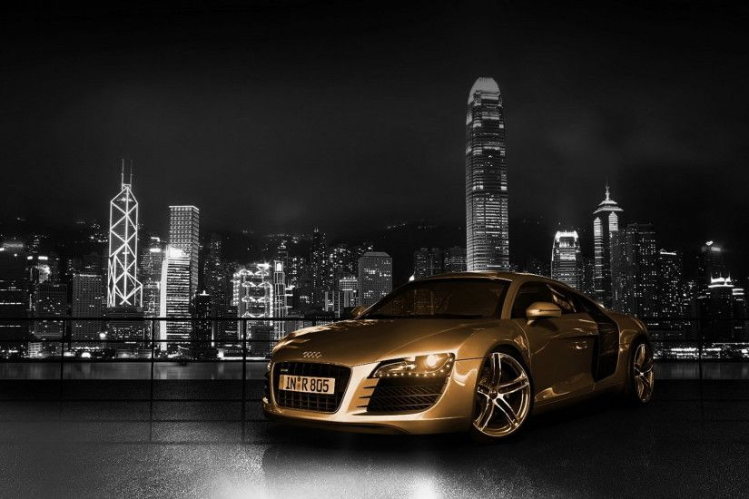 golden audi hd car wallpaper